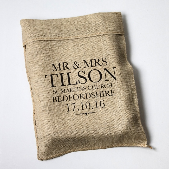 Personalised Wedding Large Letter Hessian Sack