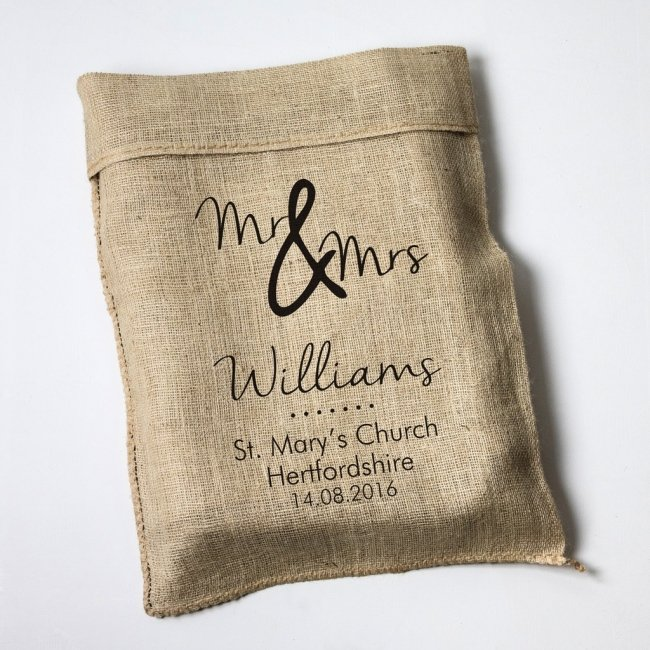 Personalised Wedding Mr & Mrs Hessian Sack