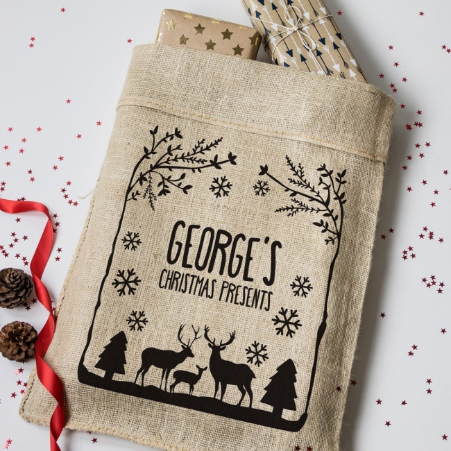 Personalised Christmas Winter Wonderland Hessian Sack