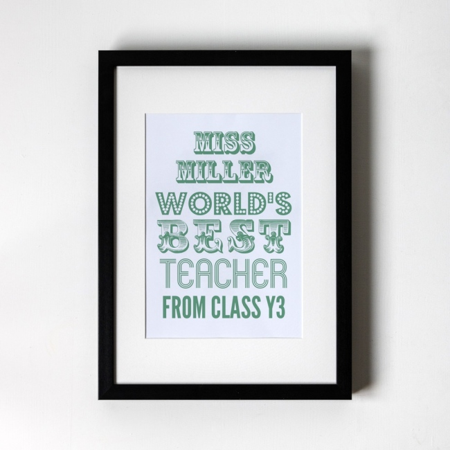 World's Best Teacher Green - Personalised Art Print