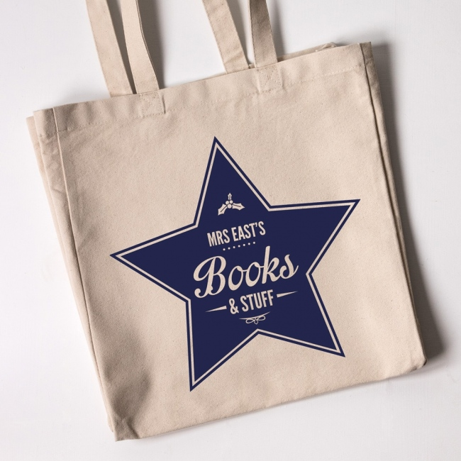 Personalised Christmas Teacher Tote Bag - Star Books and Stuff