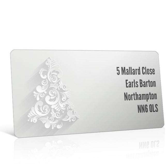 Christmas A4 Sheet Labels - Silver Christmas Tree