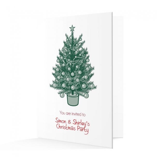 Christmas Invitation Card - Traditional Christmas Tree