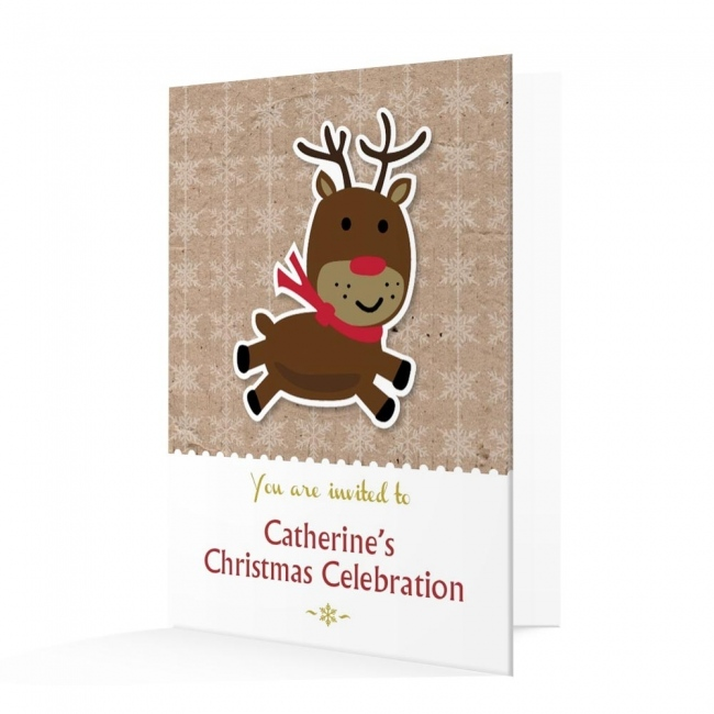 Christmas Invitation Card - Reindeer Christmas