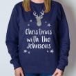 Personalised Christmas Jumper - Reindeer (Navy)